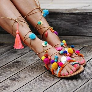 Bright fun leather Grecian sandals